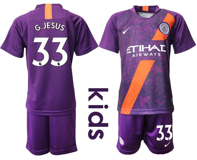 Youth 2018-2019 club Manchester City away 33 purple Soccer Jerseys
