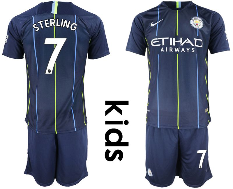 Youth 2018-2019 club Manchester City away 7 blue Soccer Jerseys