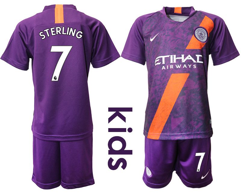 Youth 2018-2019 club Manchester City away 7 purple Soccer Jerseys