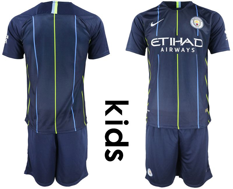 Youth 2018-2019 club Manchester City away blue Soccer Jerseys