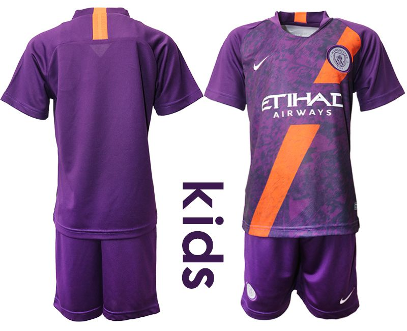Youth 2018-2019 club Manchester City away purple Soccer Jerseys