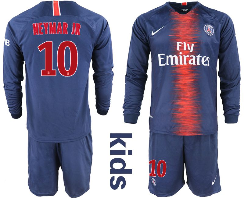 Youth 2018-2019 club Paris St Germain home long sleeve 10 blue Soccer Jerseys