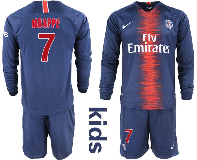 Youth 2018-2019 club Paris St Germain home long sleeve 7 blue Soccer Jerseys