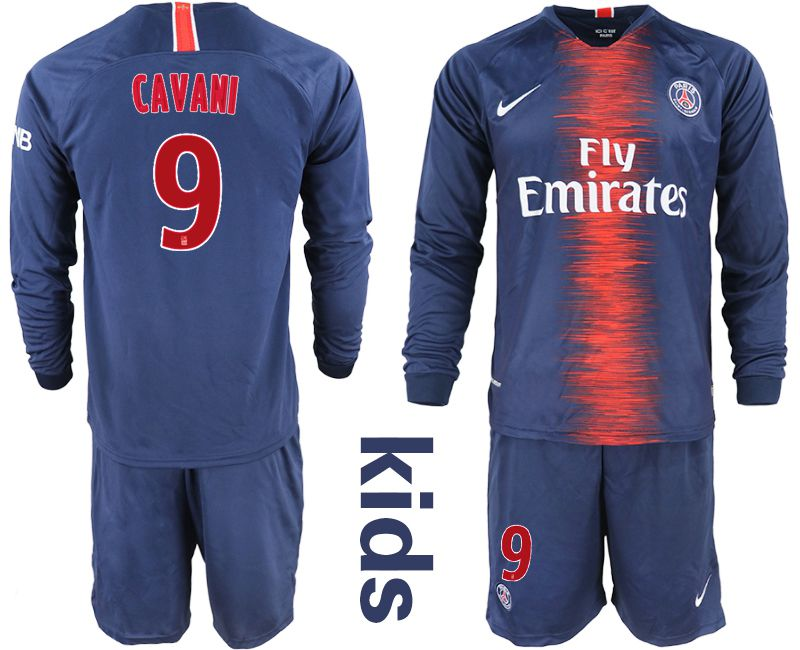 Youth 2018-2019 club Paris St Germain home long sleeve 9 blue Soccer Jerseys