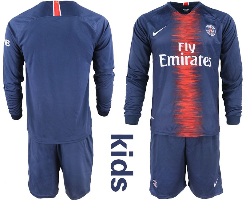 Youth 2018-2019 club Paris St Germain home long sleeve blue Soccer Jerseys