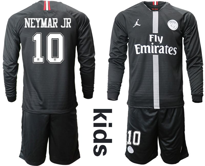 Youth 2018-2019 club Paris St German Jordan home long sleeves 10 Soccer Jerseys
