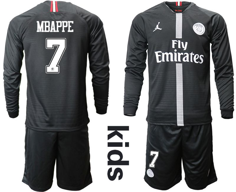 Youth 2018-2019 club Paris St German Jordan home long sleeves 7 Soccer Jerseys