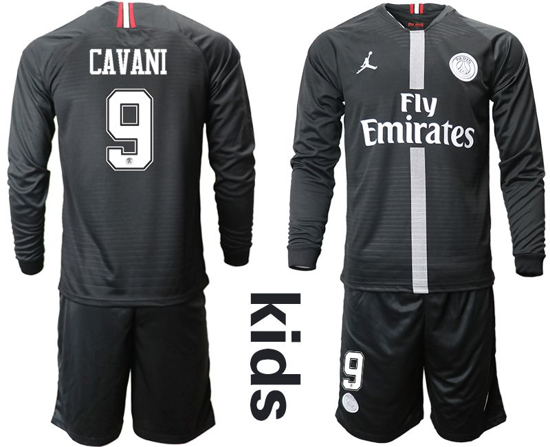 Youth 2018-2019 club Paris St German Jordan home long sleeves 9 Soccer Jerseys