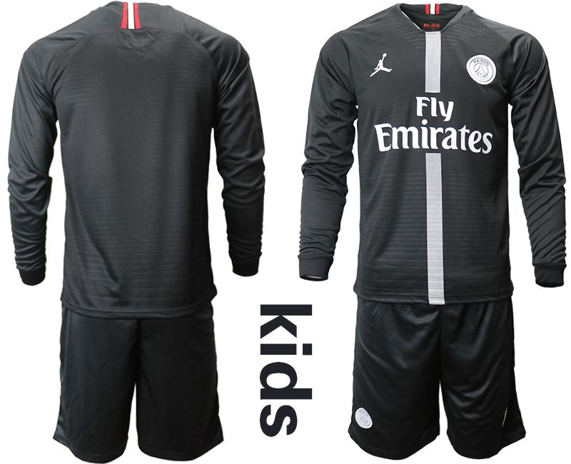 Youth 2018-2019 club Paris St German Jordan home long sleeves Soccer Jerseys