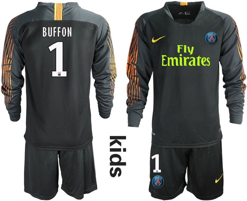 Youth 2018-2019 club Paris St German black long sleeve goalkeeper 1 Soccer Jerseys
