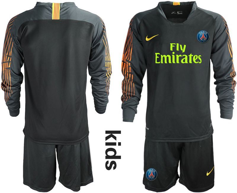 Youth 2018-2019 club Paris St German black long sleeve goalkeeper Soccer Jerseys