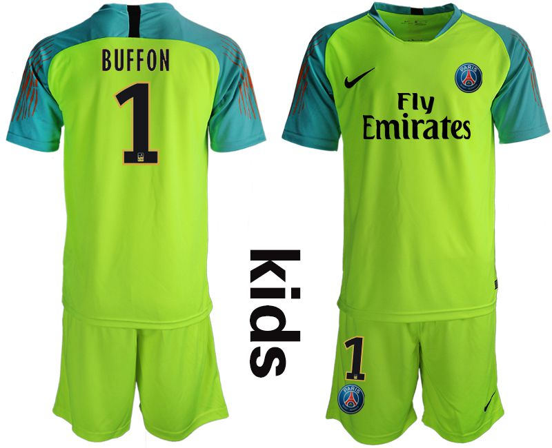 Youth 2018-2019 club Paris St German fluorescent green goalkeeper 1 Soccer Jerseys