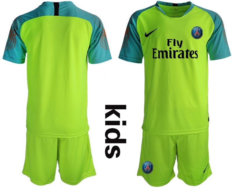 Youth 2018-2019 club Paris St German fluorescent green goalkeeper Soccer Jerseys