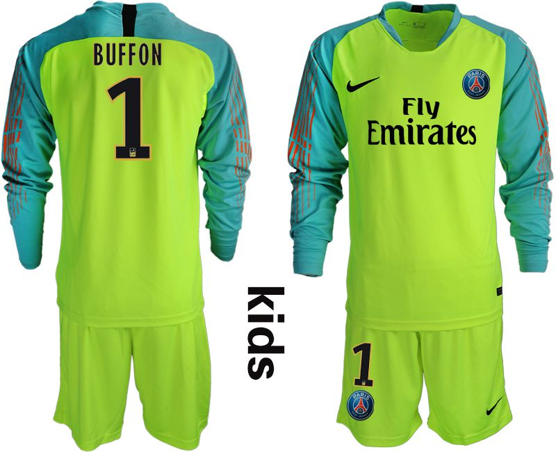 Youth 2018-2019 club Paris St German fluorescent green long sleeve goalkeeper 1 Soccer Jerseys