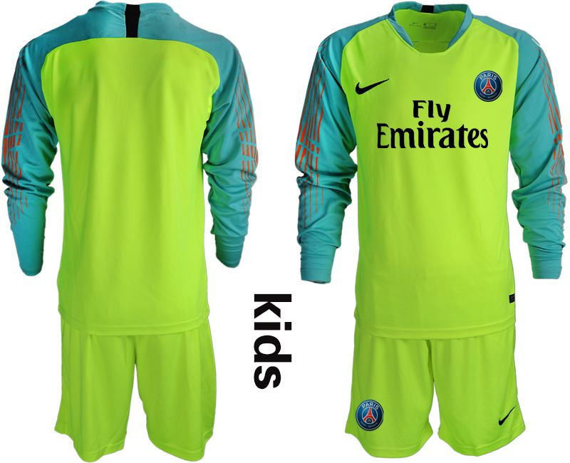 Youth 2018-2019 club Paris St German fluorescent green long sleeve goalkeeper Soccer Jerseys