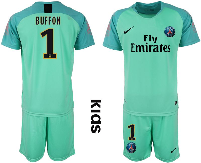 Youth 2018-2019 club Paris St German green goalkeeper 1 Soccer Jerseys