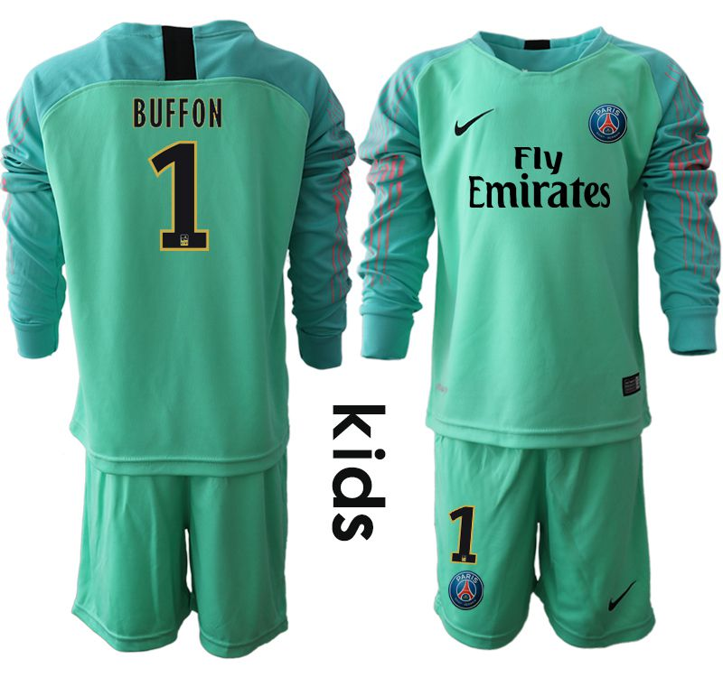Youth 2018-2019 club Paris St German green goalkeeper long sleeve 1 Soccer Jerseys