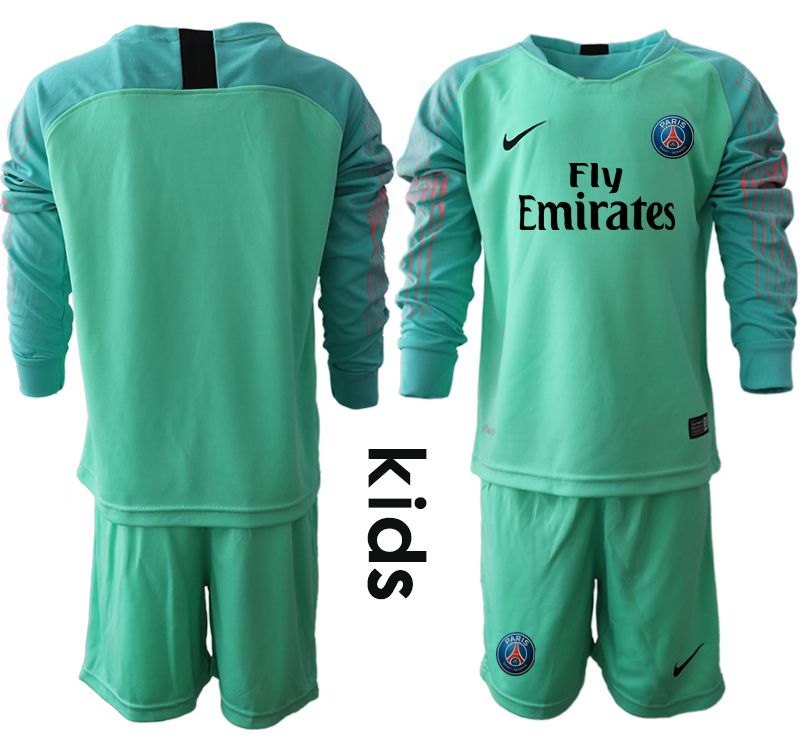 Youth 2018-2019 club Paris St German green goalkeeper long sleeve Soccer Jerseys