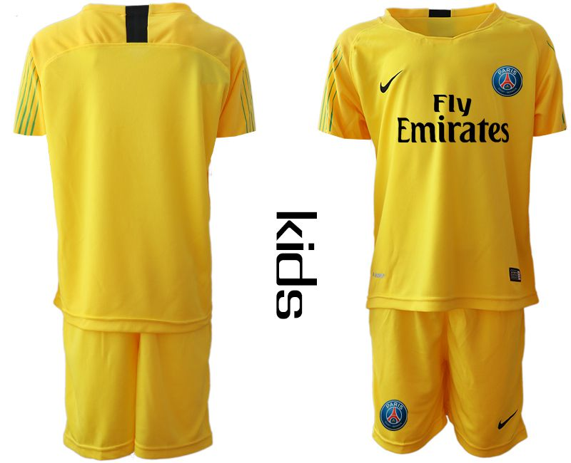 Youth 2018-2019 club Paris St German yellow goalkeeper Soccer Jerseys