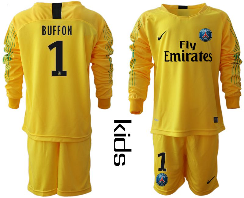 Youth 2018-2019 club Paris St German yellow goalkeeper long sleeve 1 Soccer Jerseys