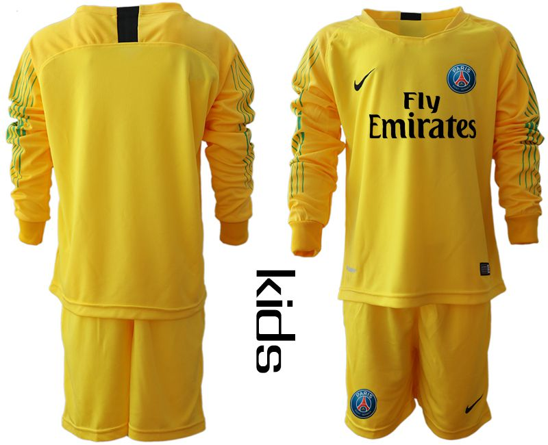 Youth 2018-2019 club Paris St German yellow goalkeeper long sleeve Soccer Jerseys