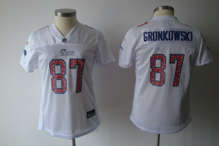 2019 Women New England Patriots 87 Gronkowski white Nike NFL jerseys