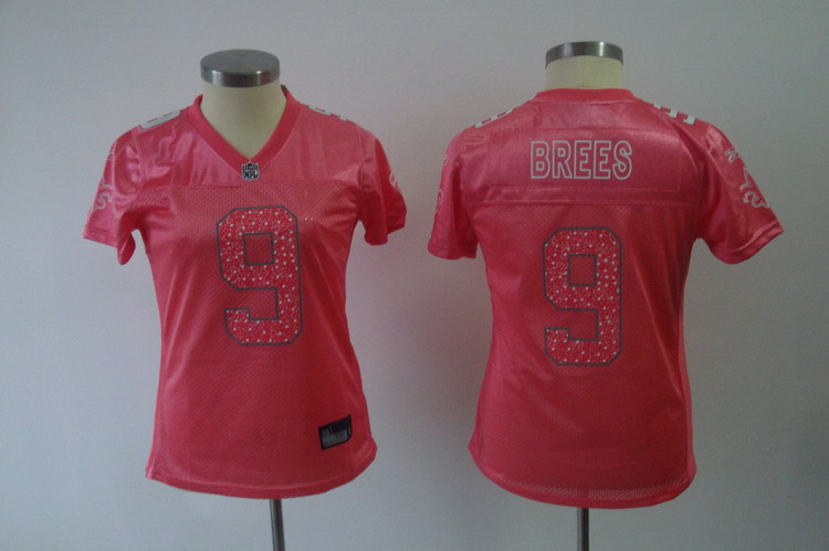 2019 Women New Orleans Saints 9 Brees pink Nike NFL Jerseys