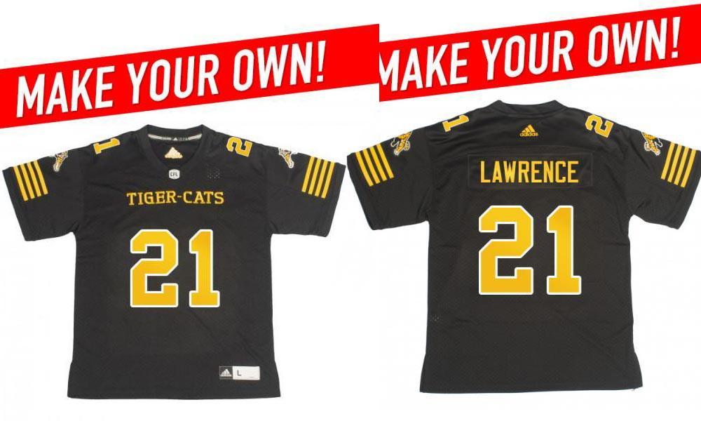 Custom Hamilton Tiger-Cats all season 21 Lawrence with a 2018 Adidas Home Jersey