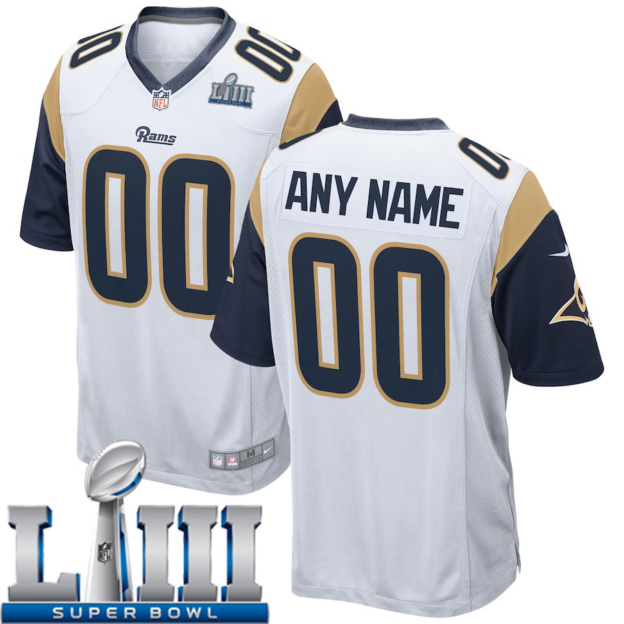 Custom Men Los Angeles Rams Nike White 2019 Super Bowl LIII NFL NFL Game  Jersey 64ef0a3aa