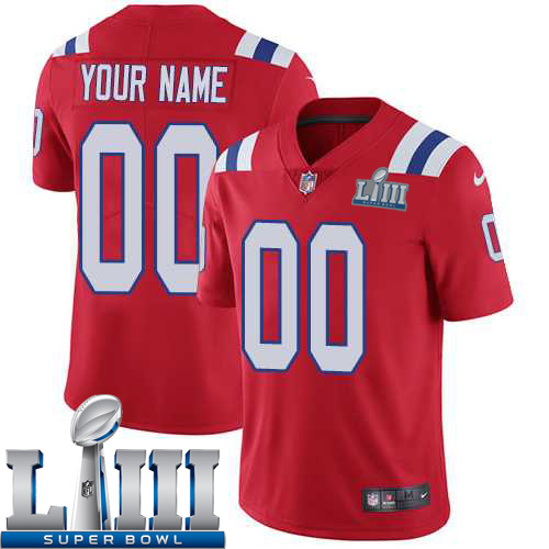 Custom Men New England Patriots Red Limited Vapor Untouchable Nike 2019 Super Bowl LIII NFL Jersey