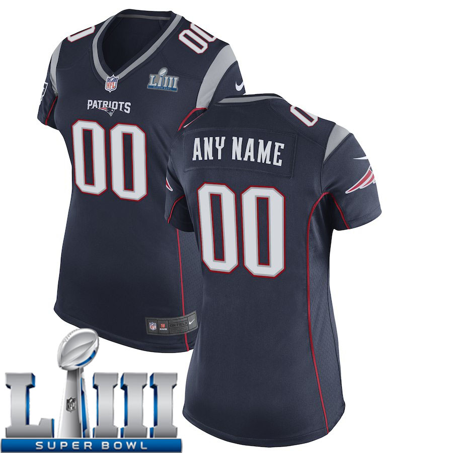 Custom Women New England Patriots Nike Navy Blue Game 2019 Super Bowl LIII NFL Jersey