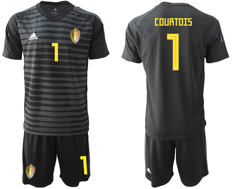 Men 2018 World Cup Belgium black goalkeeper 1 soccer jersey