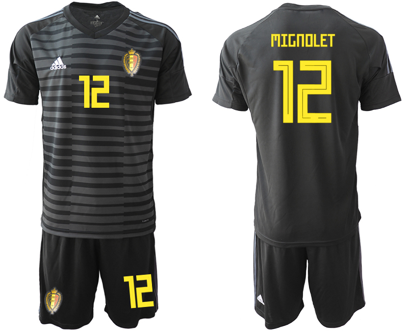 Men 2018 World Cup Belgium black goalkeeper 12 soccer jersey