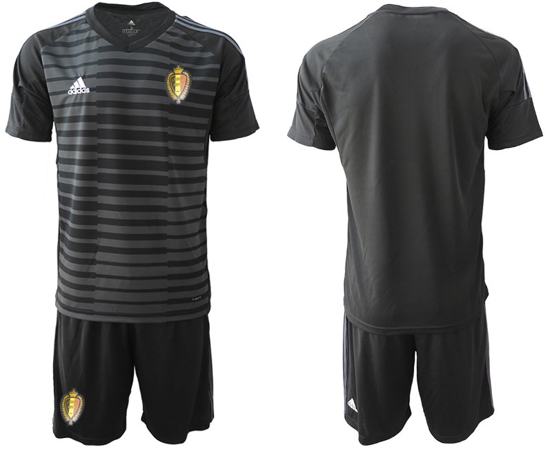 Men 2018 World Cup Belgium black goalkeeper soccer jersey