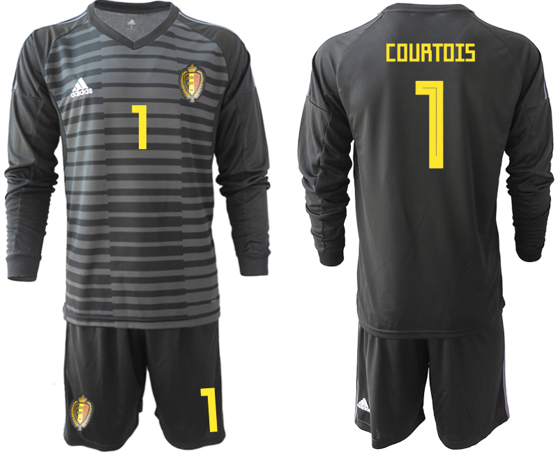 Men 2018 World Cup Belgium black long sleeve goalkeeper 1 Soccer Jerseys