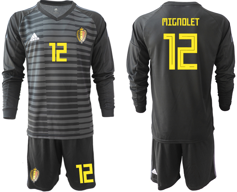 Men 2018 World Cup Belgium black long sleeve goalkeeper 12 Soccer Jerseys