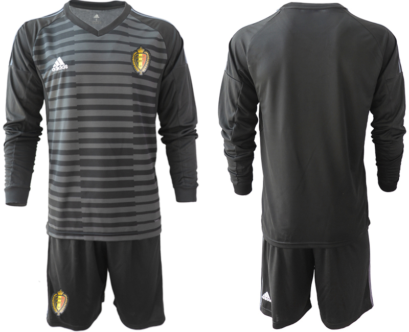 Men 2018 World Cup Belgium black long sleeve goalkeeper Soccer Jerseys