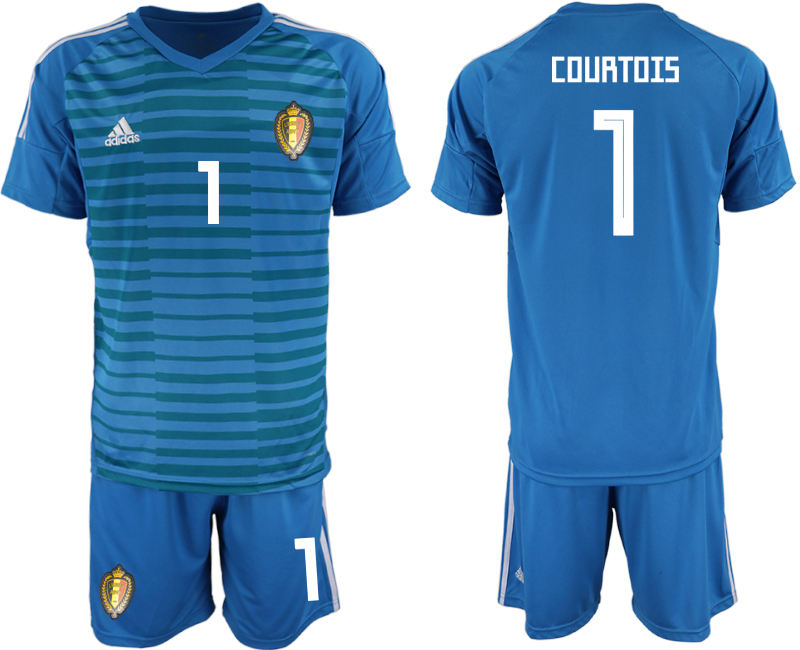 Men 2018 World Cup Belgium blue goalkeeper 1 soccer jersey