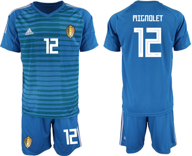 Men 2018 World Cup Belgium blue goalkeeper 12 soccer jersey