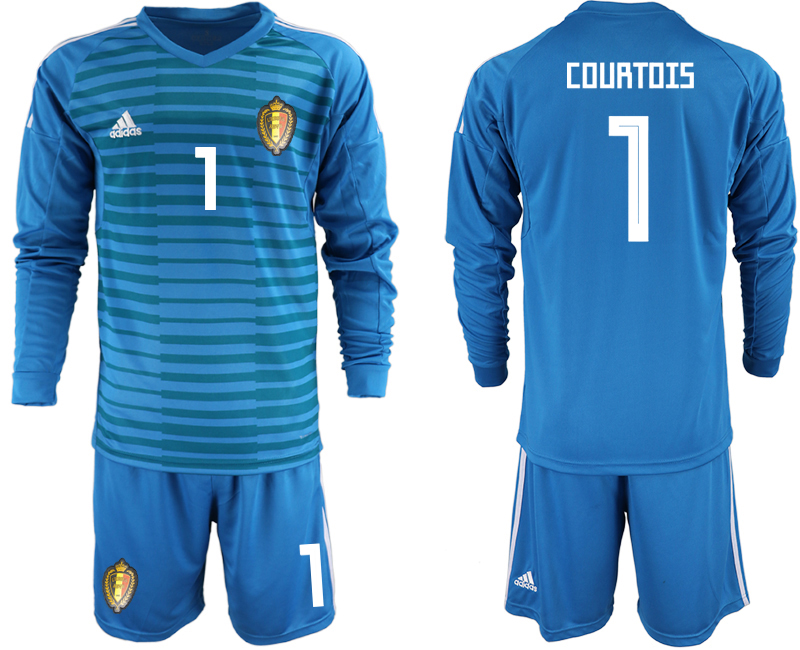 Men 2018 World Cup Belgium blue goalkeeper Long sleeve 1 Soccer Jerseys