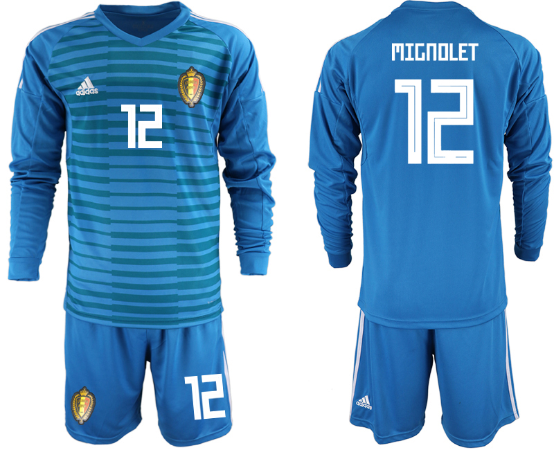 Men 2018 World Cup Belgium blue goalkeeper Long sleeve 12 Soccer Jerseys