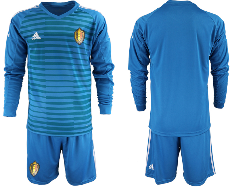 Men 2018 World Cup Belgium blue goalkeeper Long sleeve Soccer Jerseys