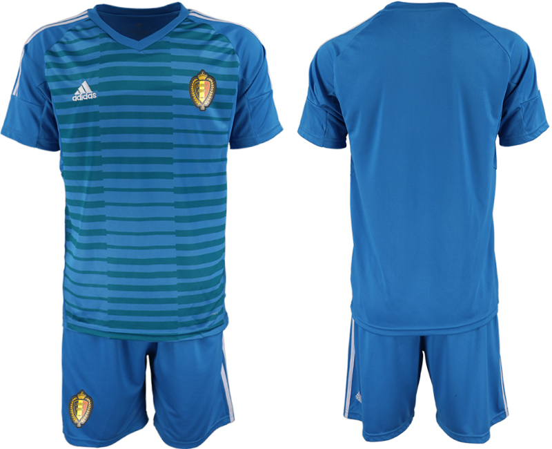 Men 2018 World Cup Belgium blue goalkeeper soccer jersey