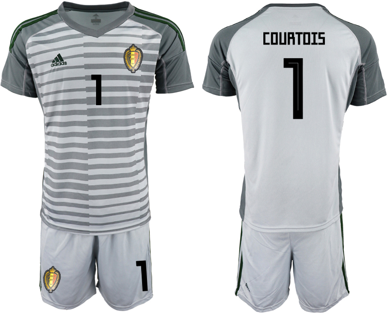 Men 2018 World Cup Belgium gray goalkeeper 1 soccer jersey