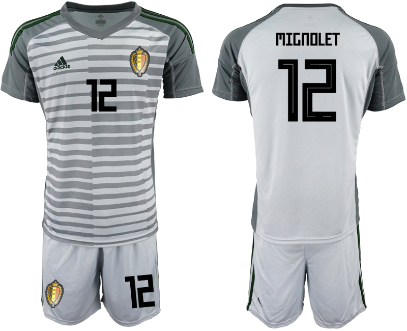 Men 2018 World Cup Belgium gray goalkeeper 12 soccer jersey