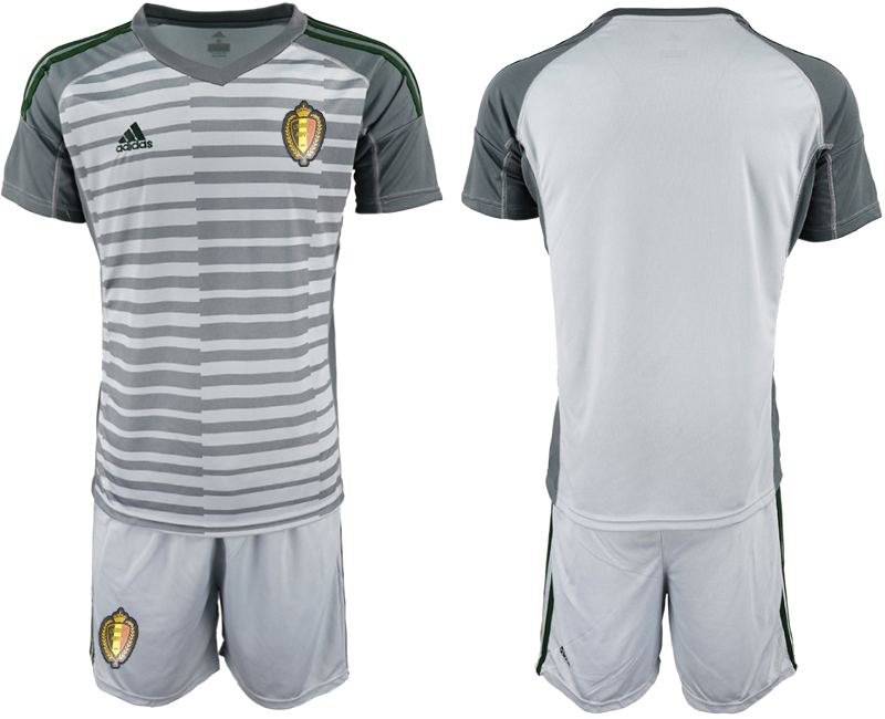 Men 2018 World Cup Belgium gray goalkeeper soccer jersey