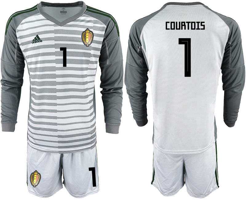 Men 2018 World Cup Belgium gray long sleeve goalkeeper 1 Soccer Jerseys