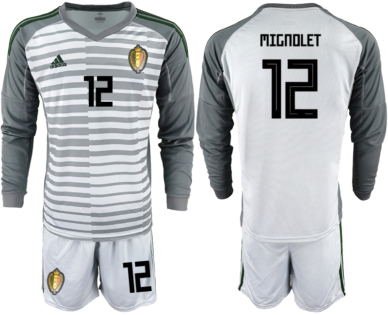 Men 2018 World Cup Belgium gray long sleeve goalkeeper 12 Soccer Jerseys