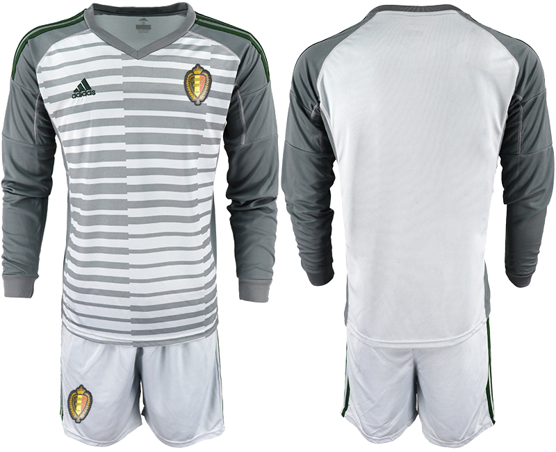 Men 2018 World Cup Belgium gray long sleeve goalkeeper Soccer Jerseys