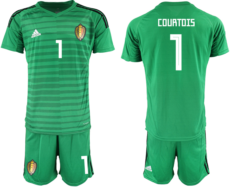 Men 2018 World Cup Belgium green goalkeeper 1 soccer jersey